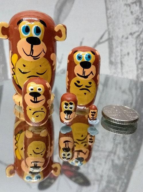 Hand Made Monkey Russian Dolls - set of 5