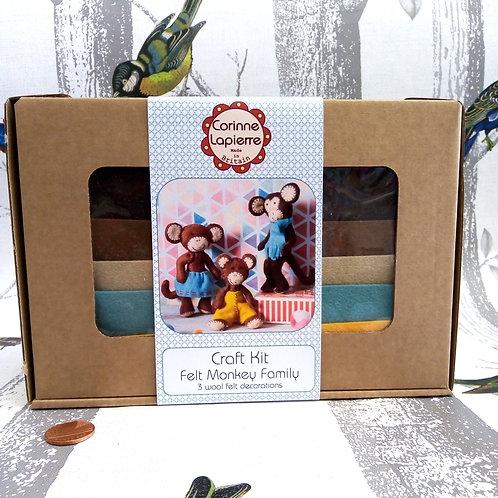 Monkey Family , Corinne Lapierre Felt Kit, Craft kit