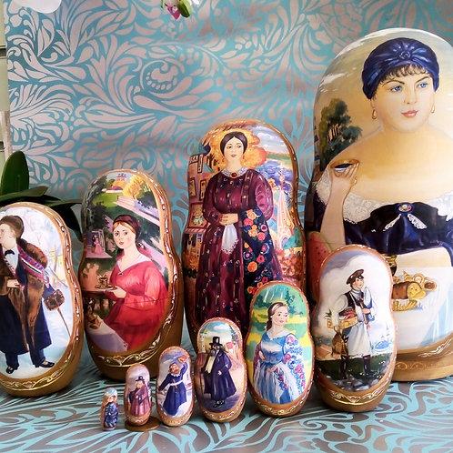 Kustodiev Russian Matryoshka Doll, Unique Hand painted Matryoshka
