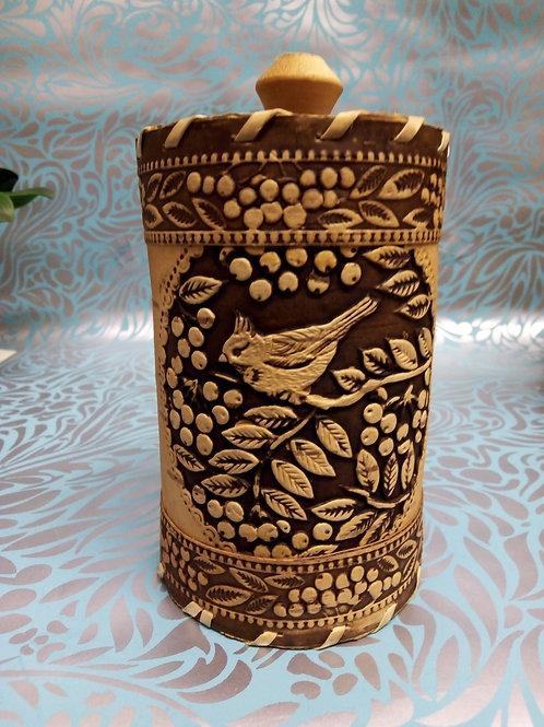 Bird and Berries Birch Bark Canister, Birch Bark Box, Handmade Siberian Crafts