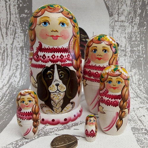 Girl with Dog Russian Matryoshka Doll
