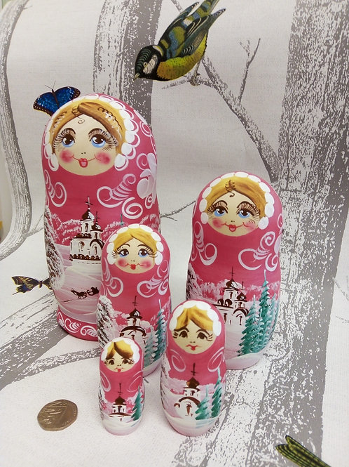 Pink Snow Scene Russian Matryoshka Doll
