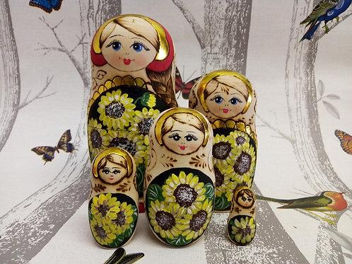 Sunflower Matryoshka Doll, Poker art and Paint,Floral Russian Matryoshka Doll
