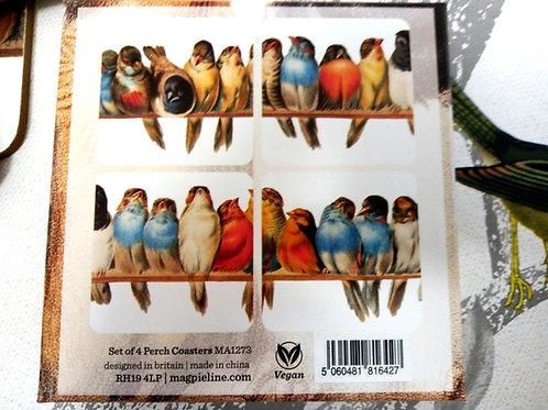 Set of Four PERCH Coasters in Presentation Box, Bird Coasters