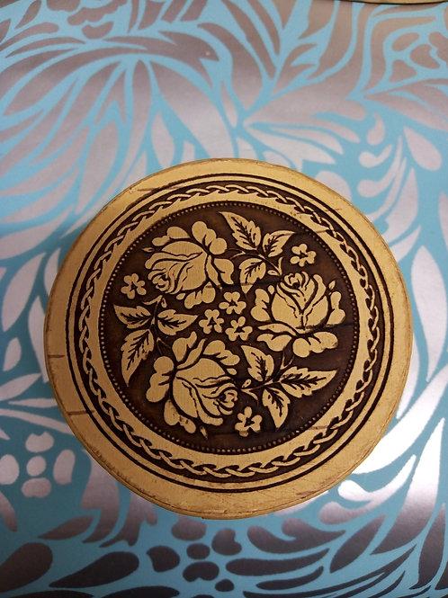 Rose and Leaf Birch Bark Mini Box, Birch Bark Box, Handmade Siberian Craft