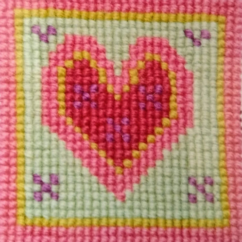 Pink Heart Tapestry Pincushion Mini-Kit, Pink Heart Tapestry Cross stitch Kit