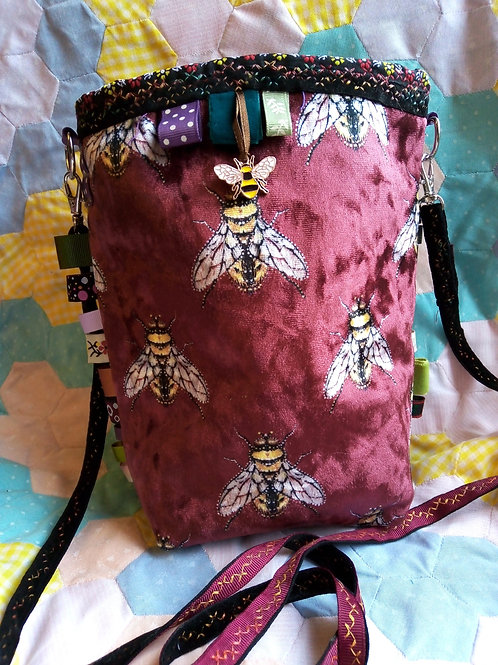 Bee Small Cross Body Bag, Red Velvet Bee Bag, Unique Bag