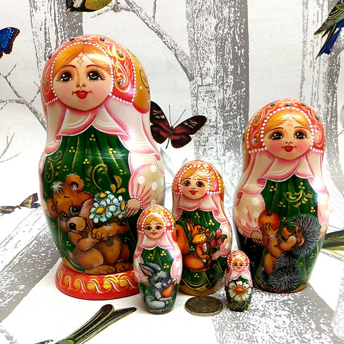 Woodland Animal Friends Matryoshka Doll, Floral Russian Matryoshka Doll