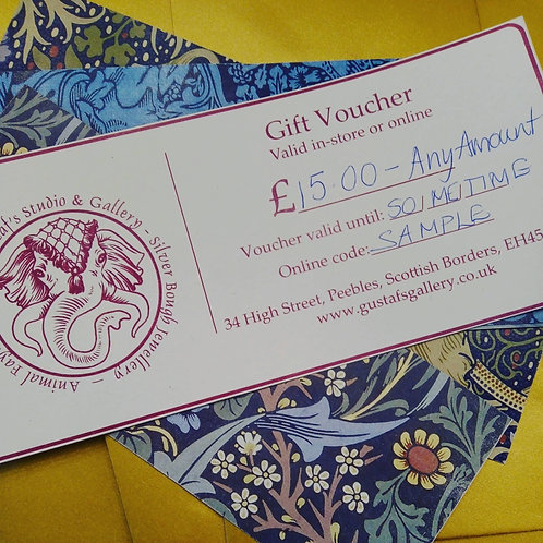 Gustaf's Studio and Gallery Gift Voucher