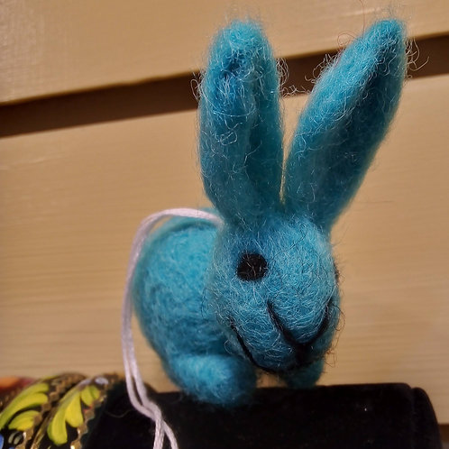 Blue Felt Bunny Hanging Decoration, Easter, Fair Trade, Made in Nepal