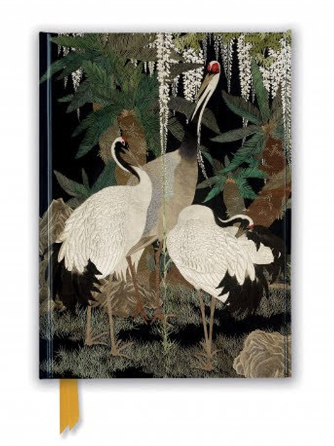 Stunning Foiled Notebook/Journal with Cranes, Cycads and Wisteria, Hardbacked