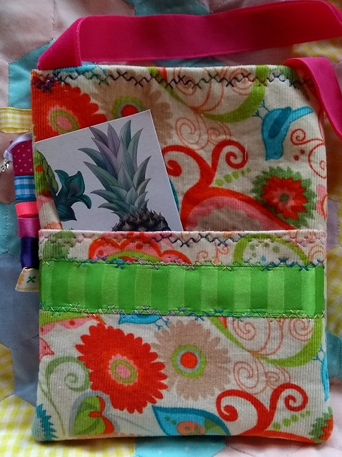 Children's bag, Small handmade bag, Dolphin charm, Green Ribbon