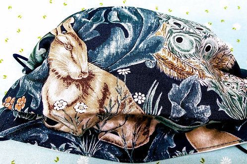 Fabric mask, facemask, Washable, Triple layer Cotton, Morris Hare and Peacock