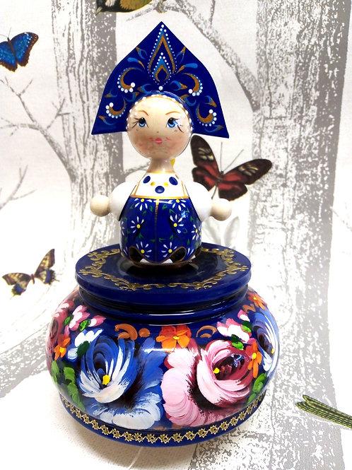 Russian Blue Doll Musical Box