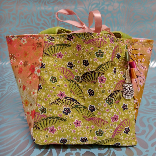 Green and Peach Japanese Fabric Rice Bag