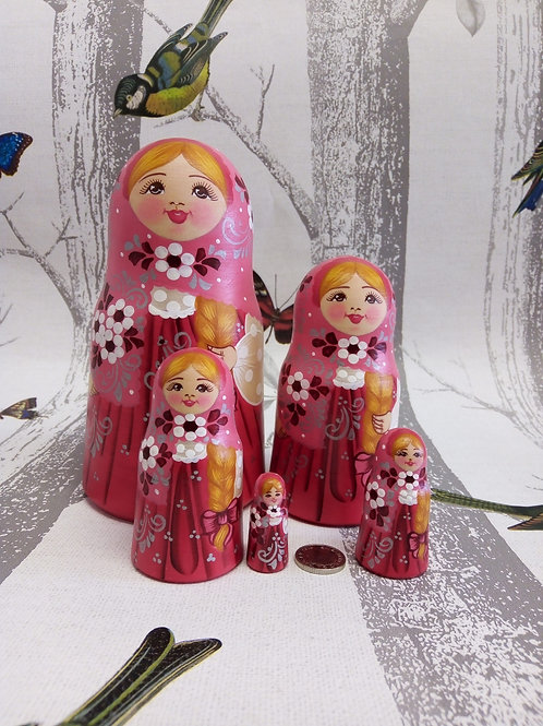 Pink and Coral, Floral Russian Matryoshka Doll