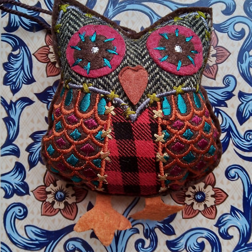 Red Check and Chevron Tweed Owl Hanging Decoration, Fair Trade,
