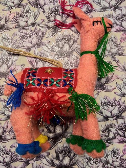 Pink Felt Llama Hanging Decoration, Fair Trade, Made in Nepal