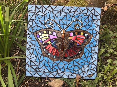 'Tortoiseshell' Mosaic by Shirley Kay, Original Mosaic Butterfly
