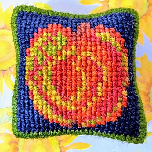 Apple Tapestry Pincushion Mini-Kit, Apple Tapestry Picture Mini-Kit