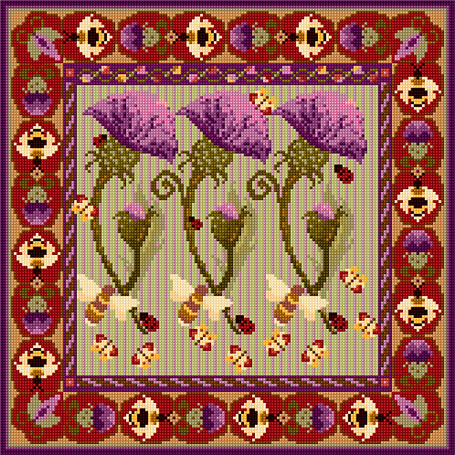 Thistle and Bee Tapestry Cushion Kit, Thistle and Bee Tapestry Hanging Kit,