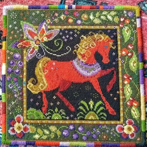 Horse Tapestry Cushion Kit, Horse Tapestry Hanging Kit, Russian Folk Art Kit