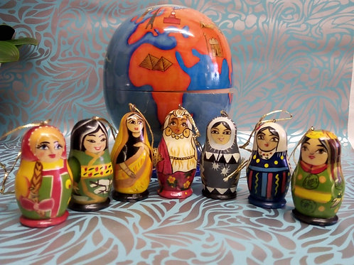 Handmade 'Globe' Filled With Seven Hanging Ladies, Wooden Decoration