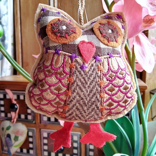 Tawny Check and Tweed Owl Hanging Decoration, Fair Trade,