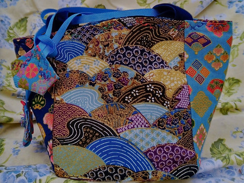 Navy and Turquoise Japanese Fabric Rice Bag
