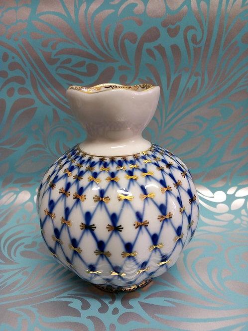 Cobalt Net Vase, Tulip Vase, Lomonosov Porcelain