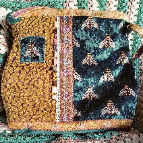 Bee Velvet Roomy Handbag, Unique handmade bagf
