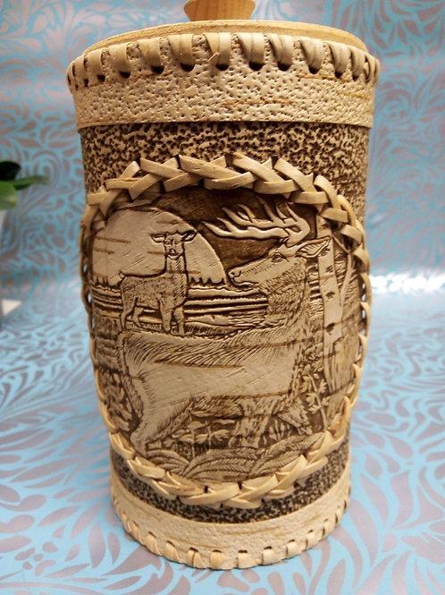 Stag Birch Bark Canister, Birch Bark Box, Handmade Siberian Crafts