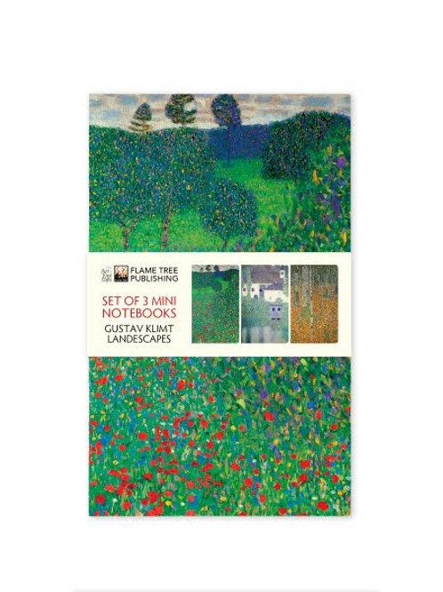 Klimt Landscapes Mini Notebook Collection, Three Pocket Notebooks