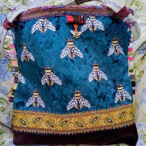 Bee Velvet Medium Handbag, Unique handmade bagf