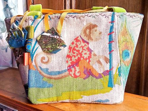 Monkey Fabric Makeup Bag, Unique, Fabric Gift Bag, Monkey Fabric Basket, Gift