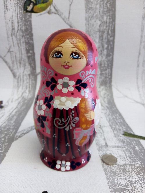 Plum and Pink Lace Matryoshka Doll, Russian doll