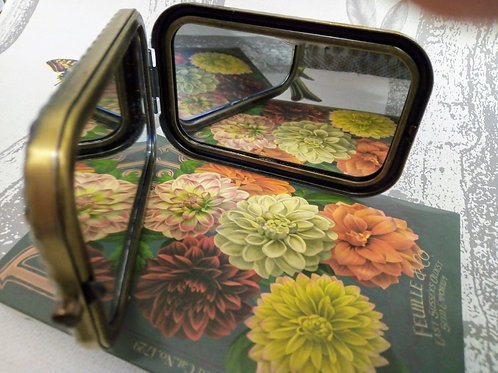 Dahlia Compact Mirror, Vintage Seed Packet Style, House of Disaster