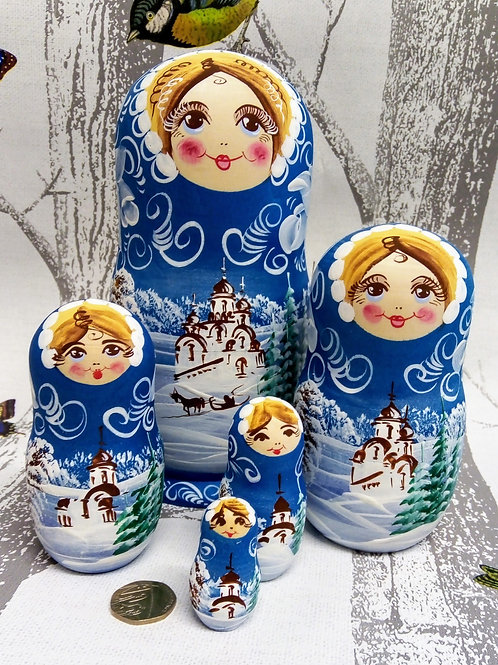 Blue Snow Scene Russian Matryoshka Doll