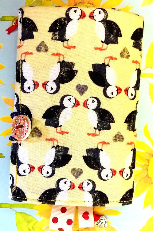 Puffin design Tea Wallet, Fold-up Wallet, Fabric Organiser