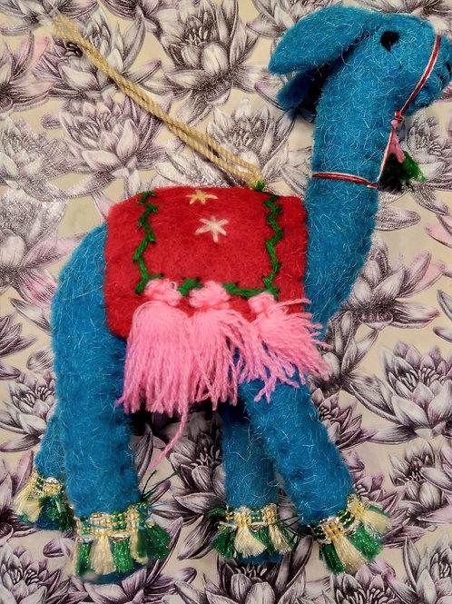 Blue Felt Llama Hanging Decoration, Fair Trade, Made in Nepal