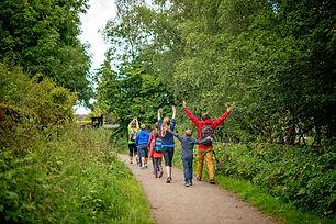 A group walking down a path