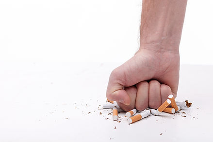 Stop smoking. Close up of male hand brea