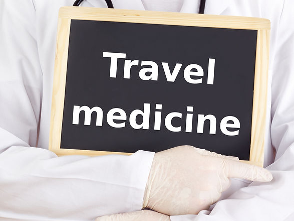 Doctor shows information: travel medicin