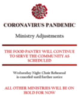 New Gresham Corona Ministry Adjustments.