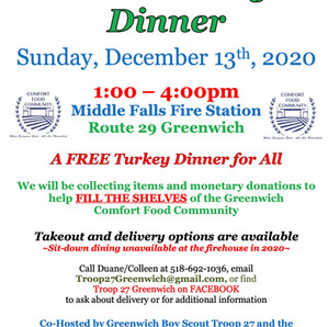 Free Community Dinner at The Middle Falls Fire Department