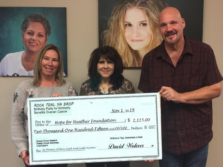 Donation Check from Rock Teal Ya Drop