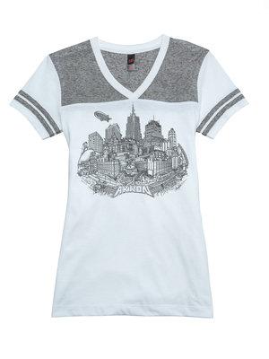 White/Gray Short Sleeve V-Neck Akron