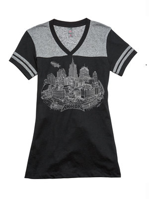 Black/Charcoal Nickel Striped Short Sleeve Akron V-Neck