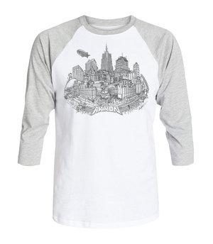 White/Gray 3/4 Sleeve Akron
