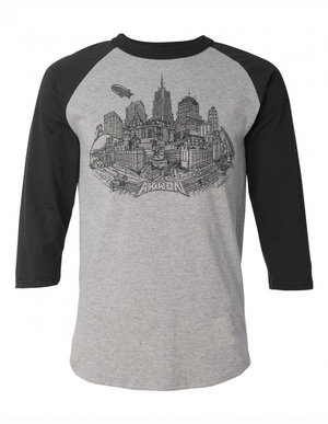 Gray/Black 3/4 Sleeve Akron